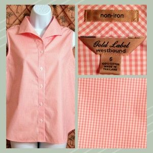 Westbound Gold Label Sleeveless Gingham Blouse